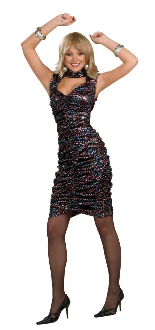 Ladies Disco Princess Dress Costume 70s Pop Music Night Fever Fame Fancy Dress
